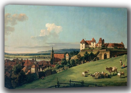 Bellotto, Bernardo: View of Pirna from the Sonnenstein Castle. Fine Art Canvas. Sizes: A4/A3/A2/A1 (001494)